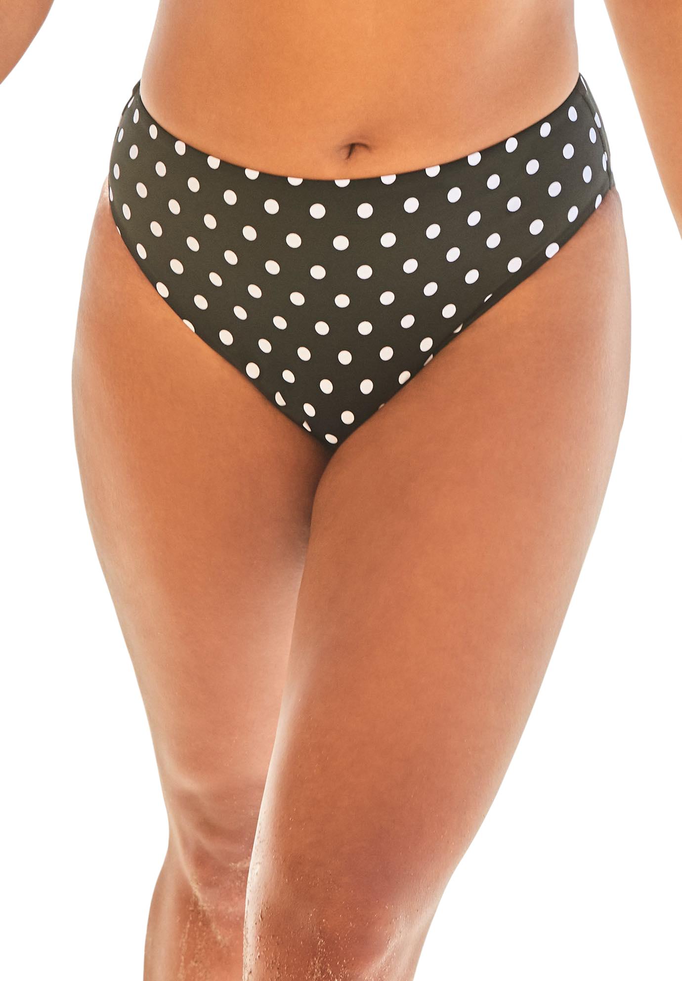 Plus Size Women's Ashley Graham Executive Bikini Bottom by Swimsuits For All in Black White Polka Dot