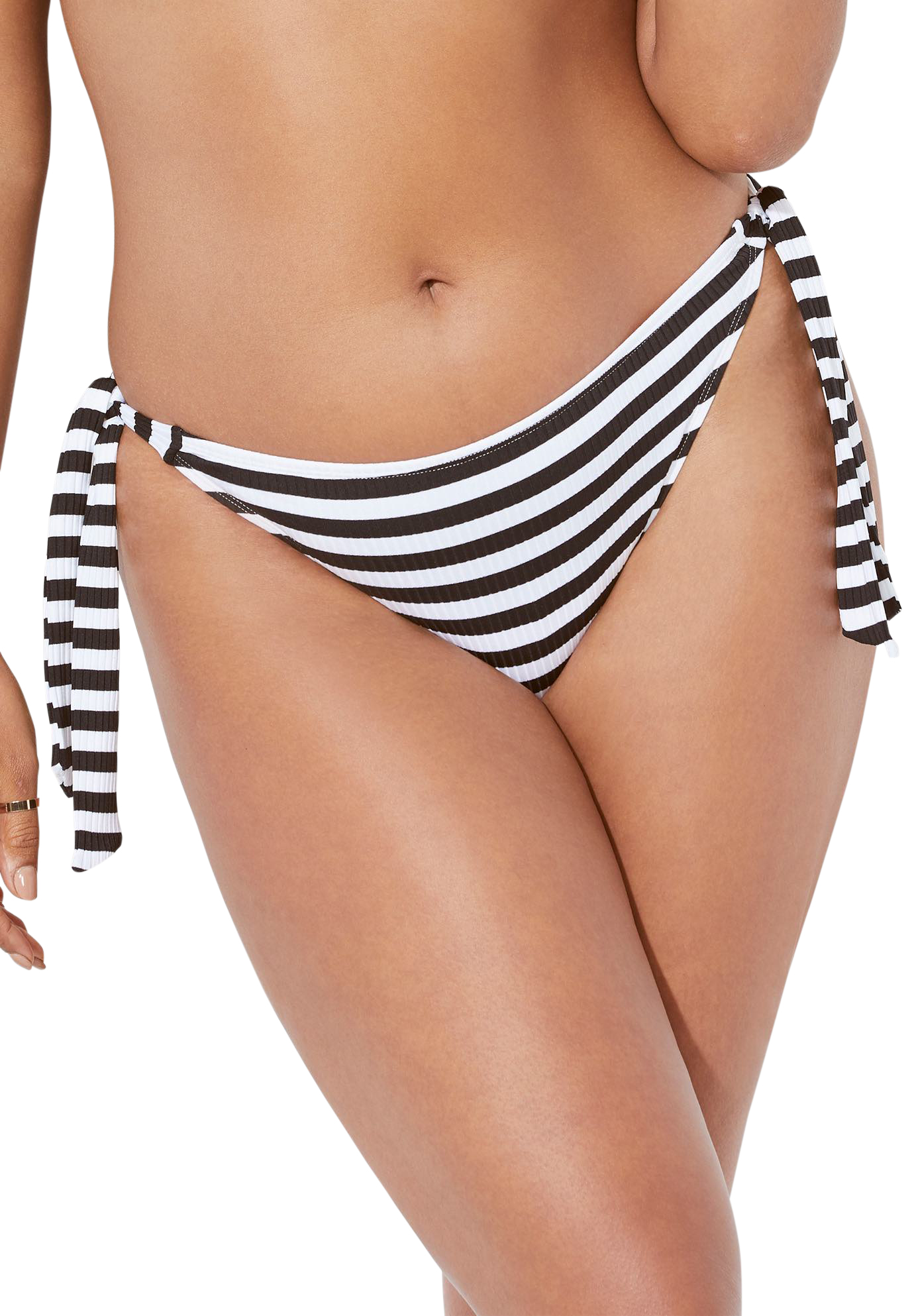 Plus Size Women's Ashley Graham Elite Bikini Bottom by Swimsuits For All in Stripe