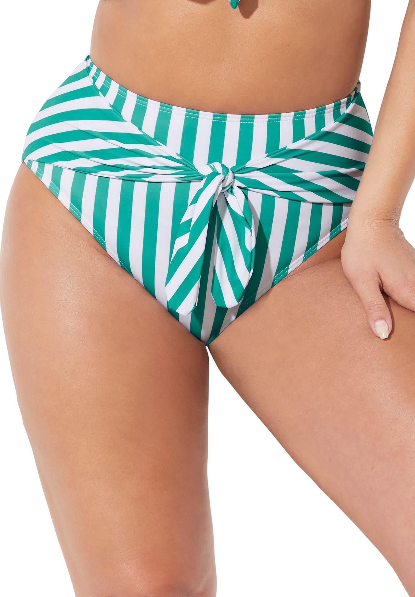 Plus Size Women's GabiFresh Tie Front Bikini Bottom by Swimsuits For All in Aloe White Stripe