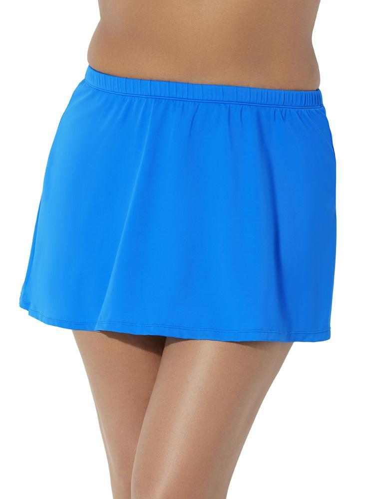 Plus Size Women's A-Line Swim Skirt by Swimsuits For All in Beautiful Blue
