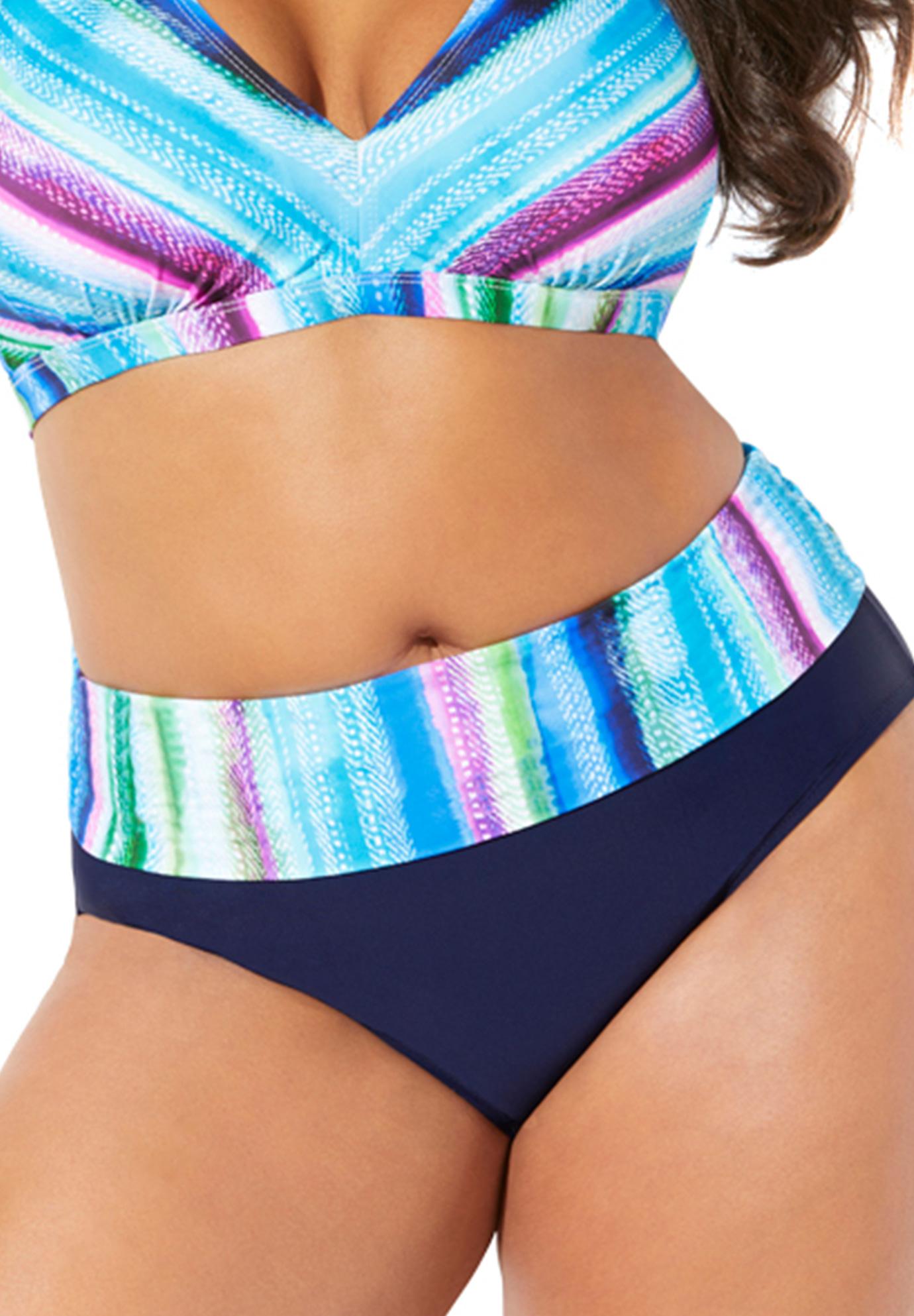 Plus Size Women's Foldover Swim Brief by Swimsuits For All in Multi Stripe