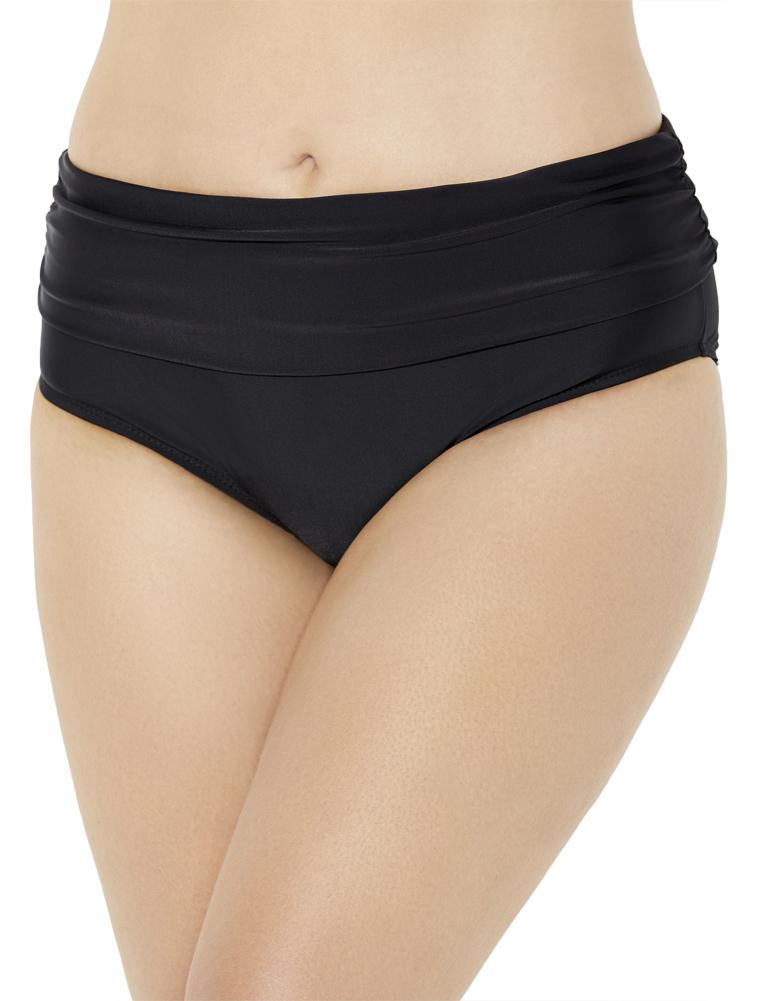 Plus Size Women's Foldover Swim Brief by Swimsuits For All in Black