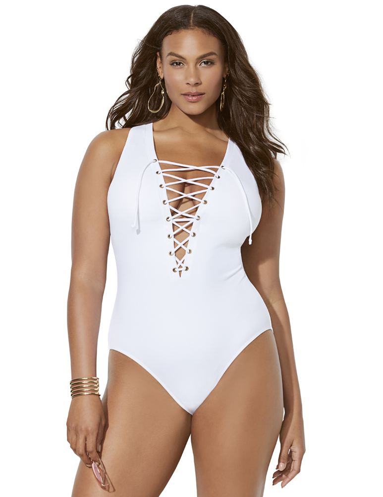 Plus Size Women's Ashley Graham CEO Lace Up One Piece Swimsuit by Swimsuits For All in White