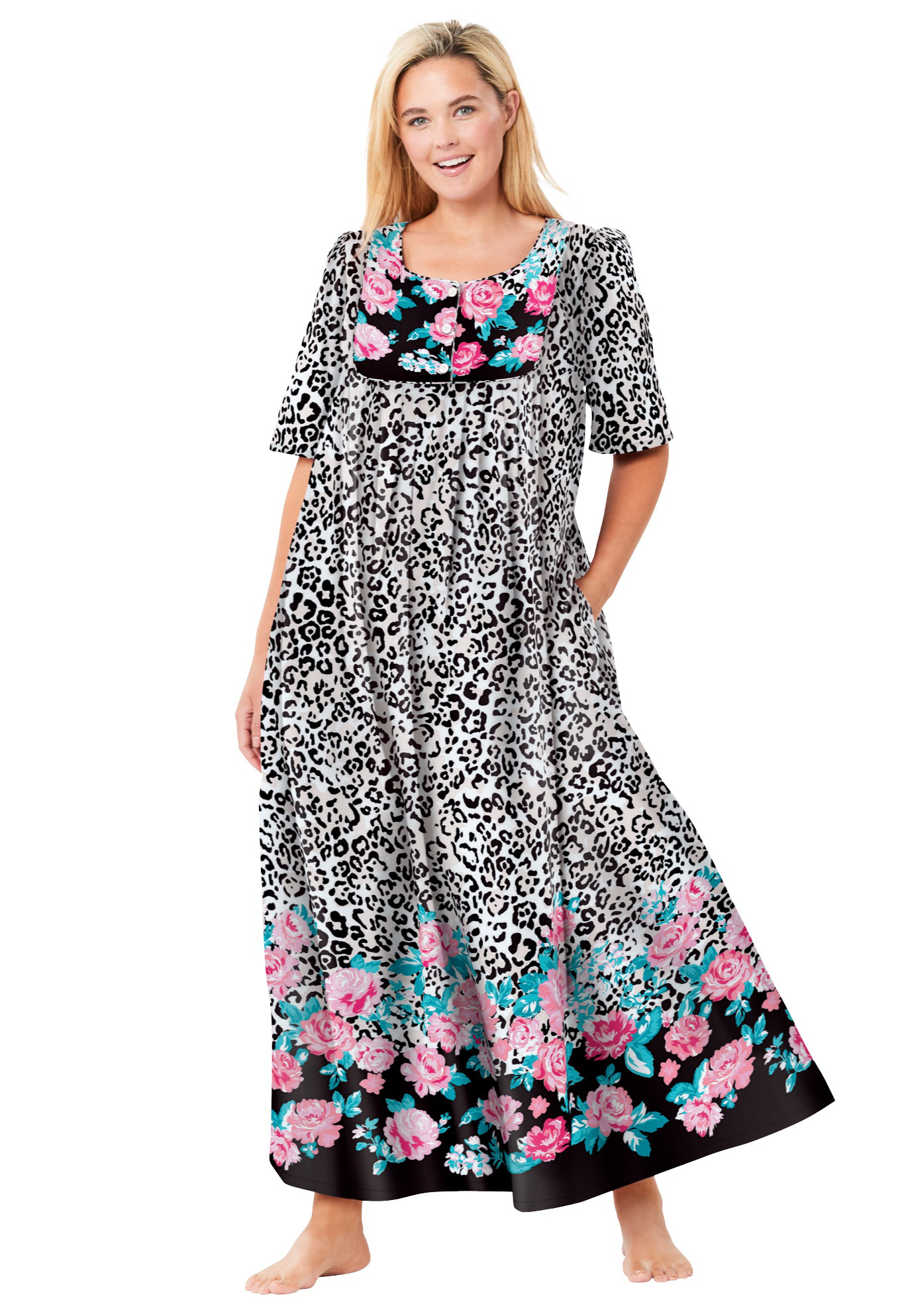Plus Size Women's Mixed Print Long Lounger by Only Necessities in Natural Leopard (Size L)