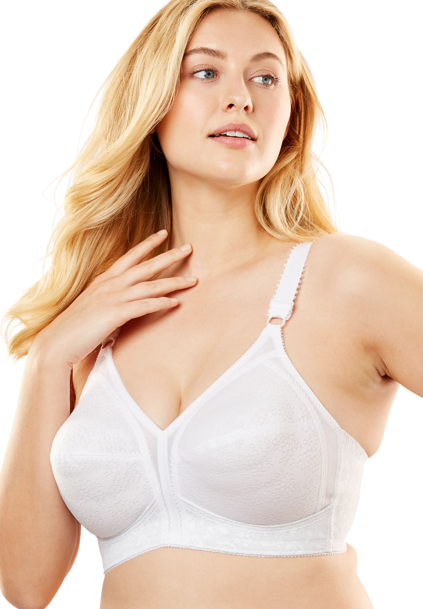 Swimsuitsforall.com coupon: Plus Size Women's 18 Hour Sensational Support Wireless Bra 20/27 by Playtex in White (Size 38 DD)