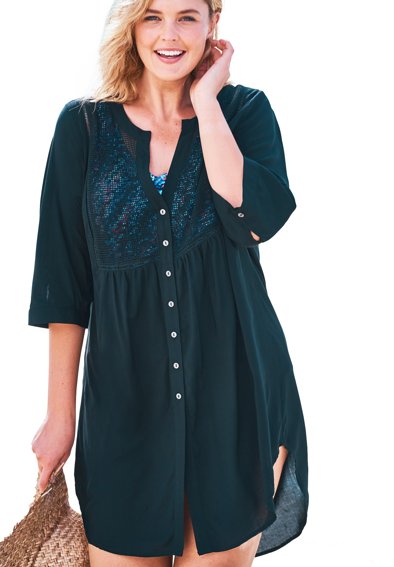 Plus Size Women's Crochet-Front Cover Up by Swim 365 in Black