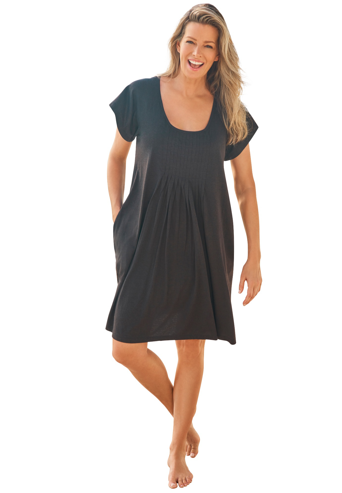 Plus Size Women's Box-Pleat Cover Up by Swim 365 in Black