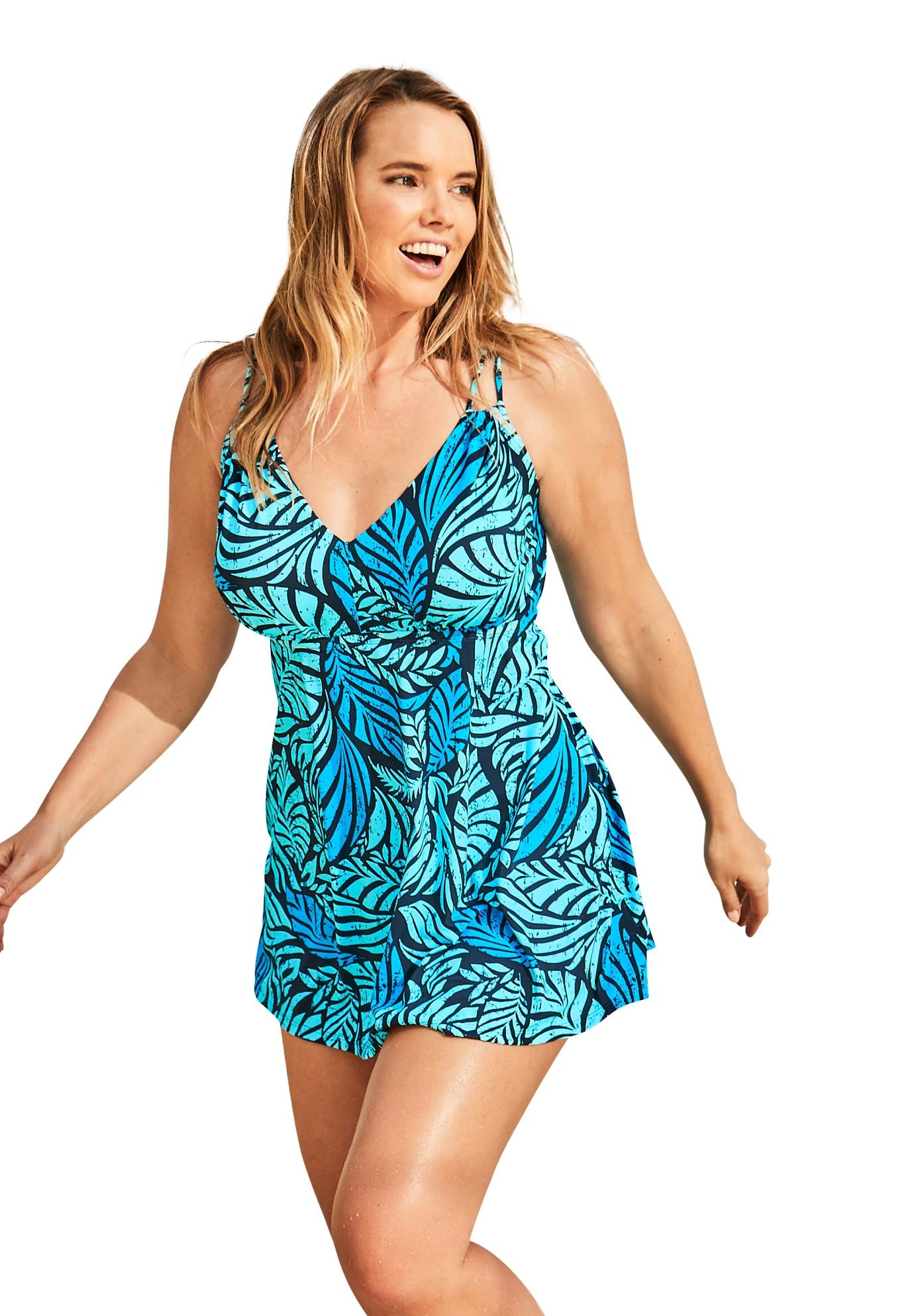 Plus Size Women's Two-Piece Swim Dress by Swim 365 in Deep Blue Leaf