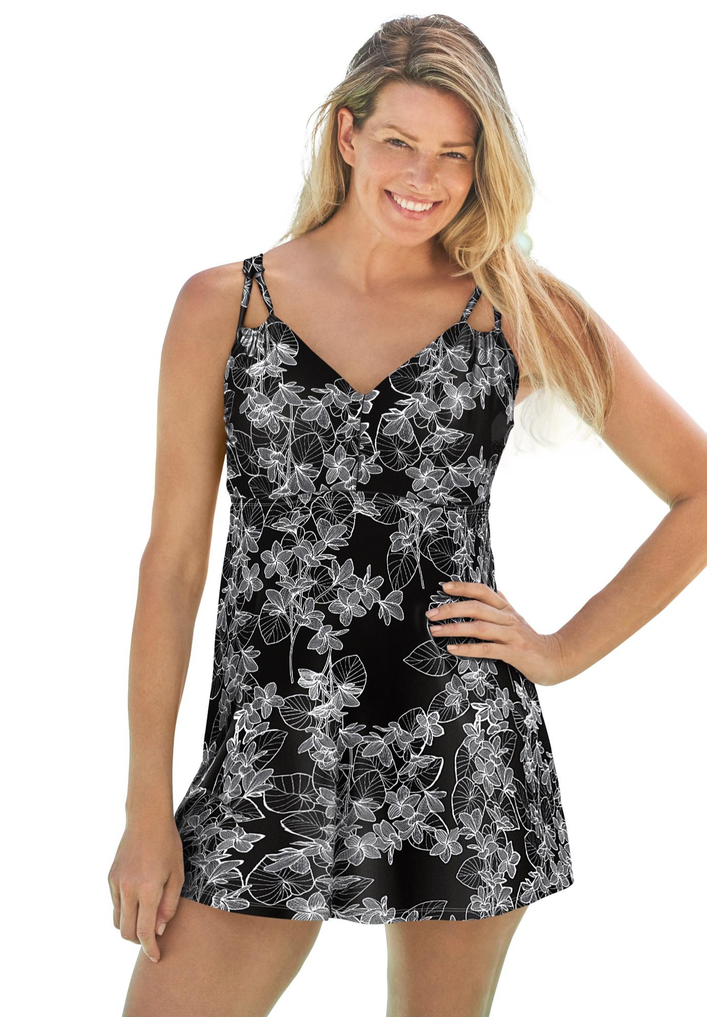 Plus Size Women's Two-Piece Swim Dress by Swim 365 in Black Stencil Leaf Print