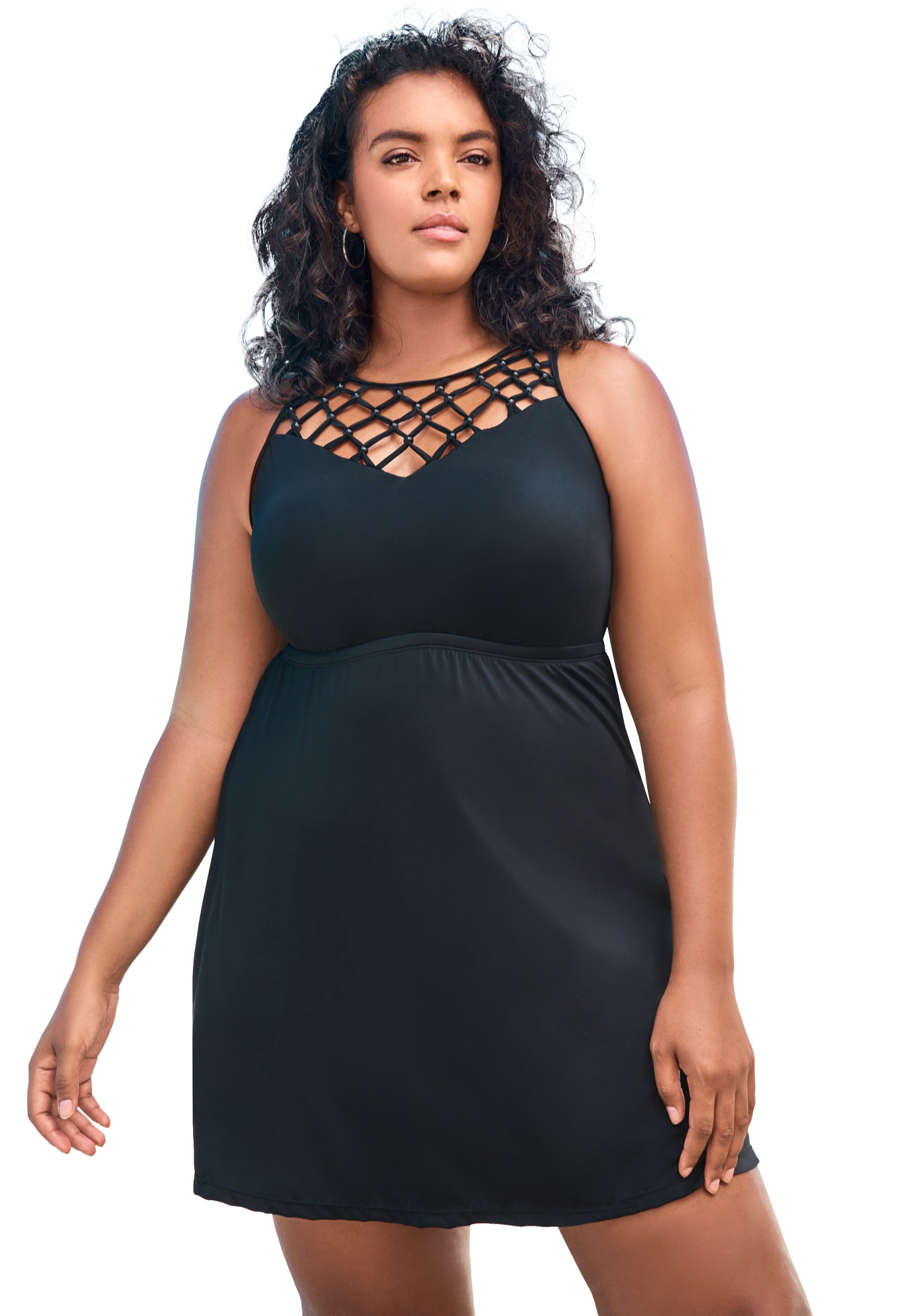 Plus Size Women's Beaded Macrame Swim Dress by Swim 365 in Black