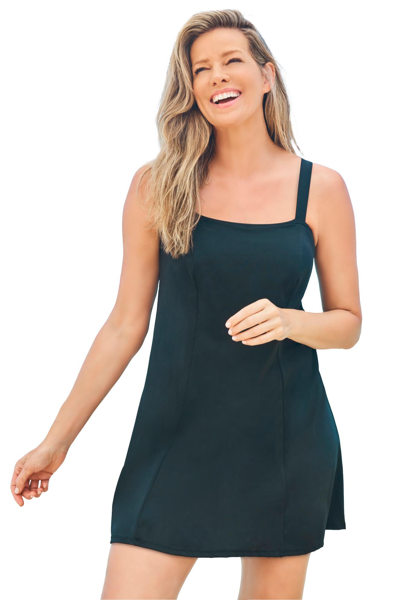 Plus Size Women's Princess-Seam Swim Dress by Swim 365 in Black