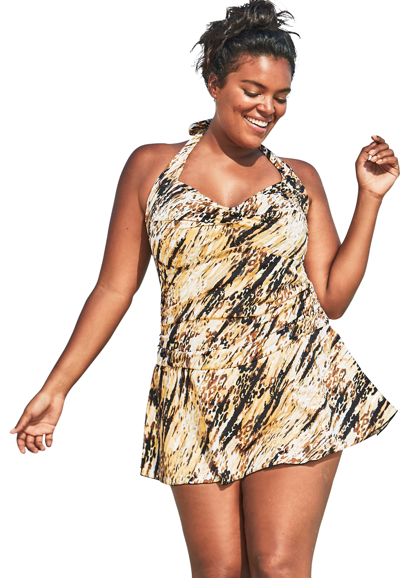 Plus Size Women's Retro Halter Swim Dress by Swim 365 in Brown Animal Tie Dye