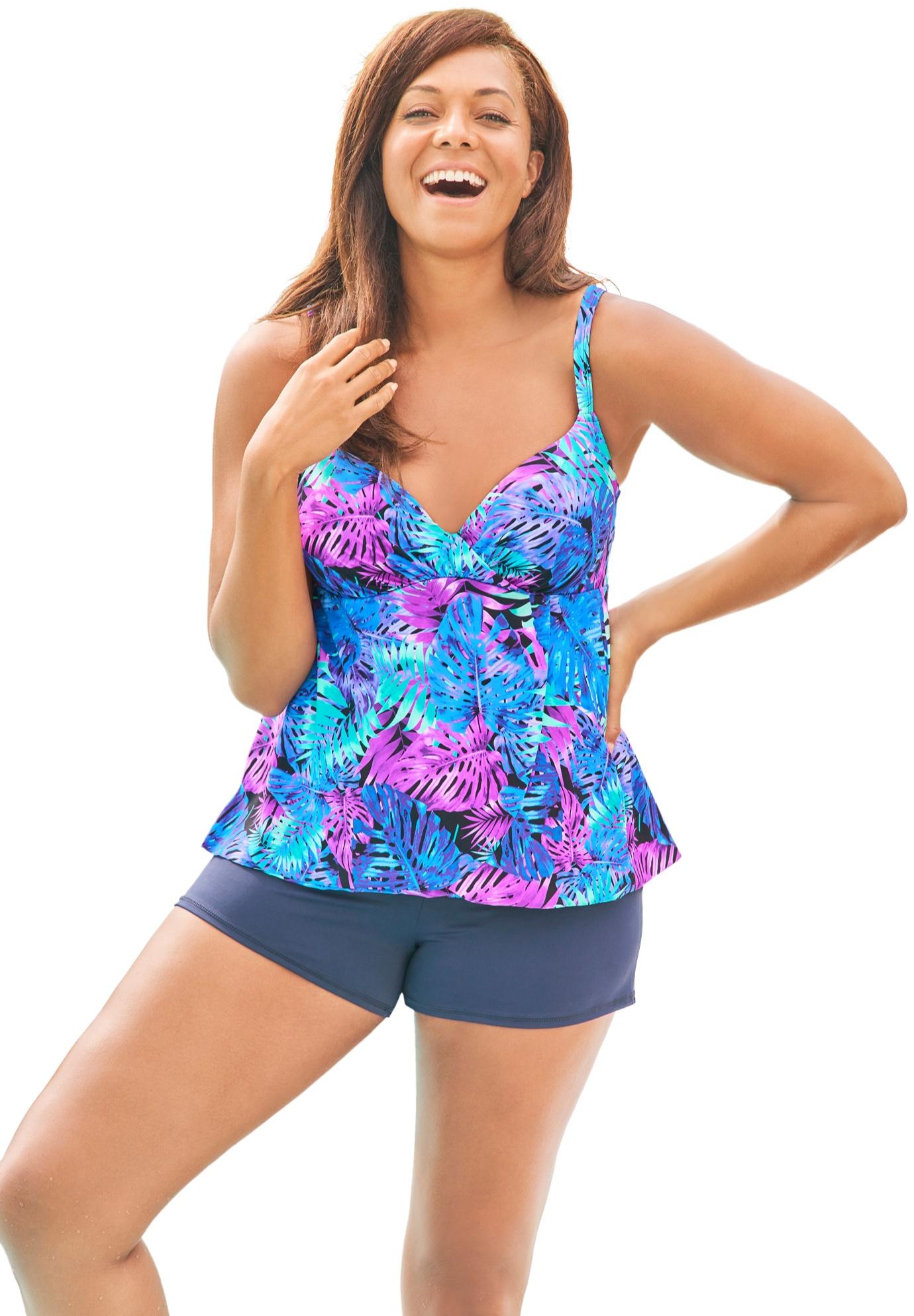 Plus Size Women's Bra-Size Wrap Tankini Top by Swim 365 in Blue Palm Print