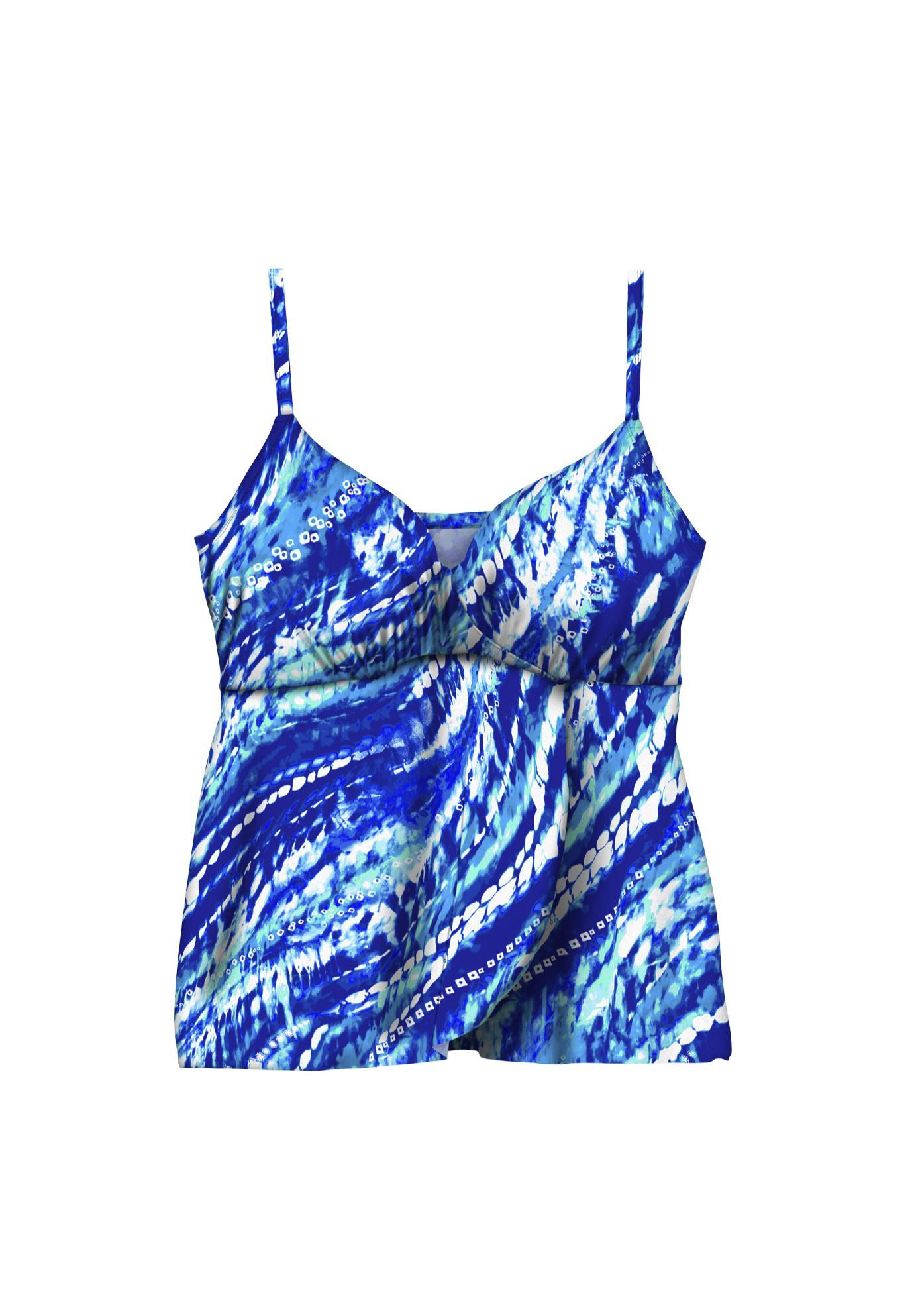Plus Size Women's Bra-Size Wrap Tankini Top by Swim 365 in Dream Blue Tie Dye