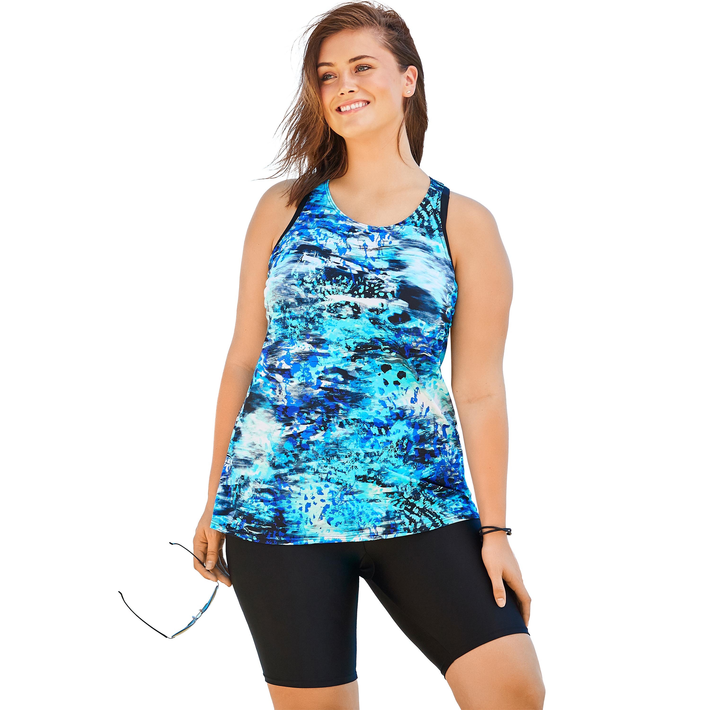 Plus Size Women's Longer Length Tankini Top by Swim 365 in Blue Abstract