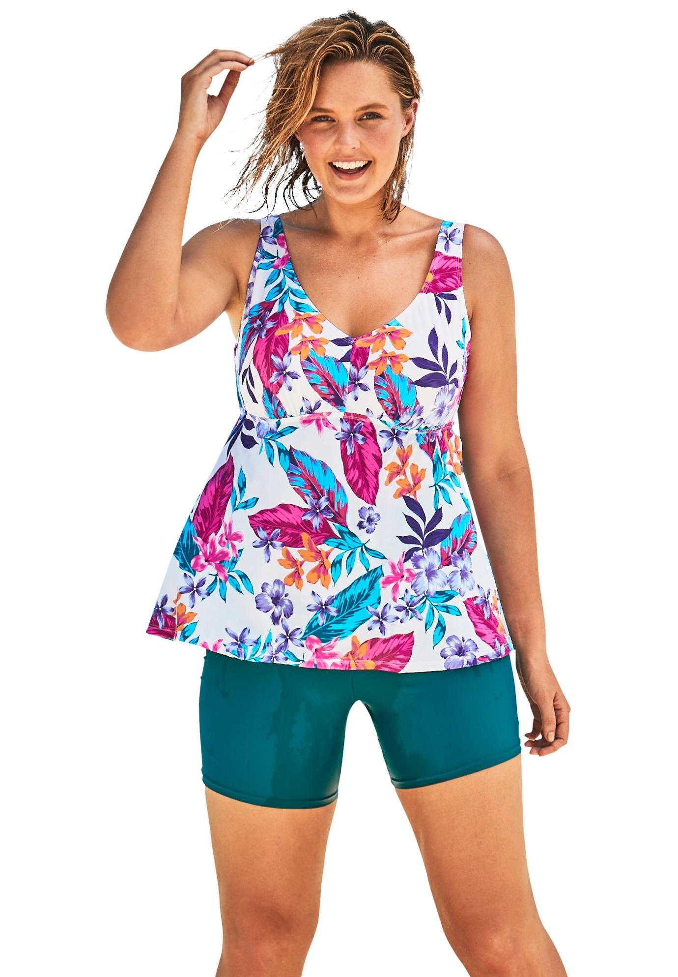 Plus Size Women's Flowy Tankini Top by Swim 365 in White Paradise Floral