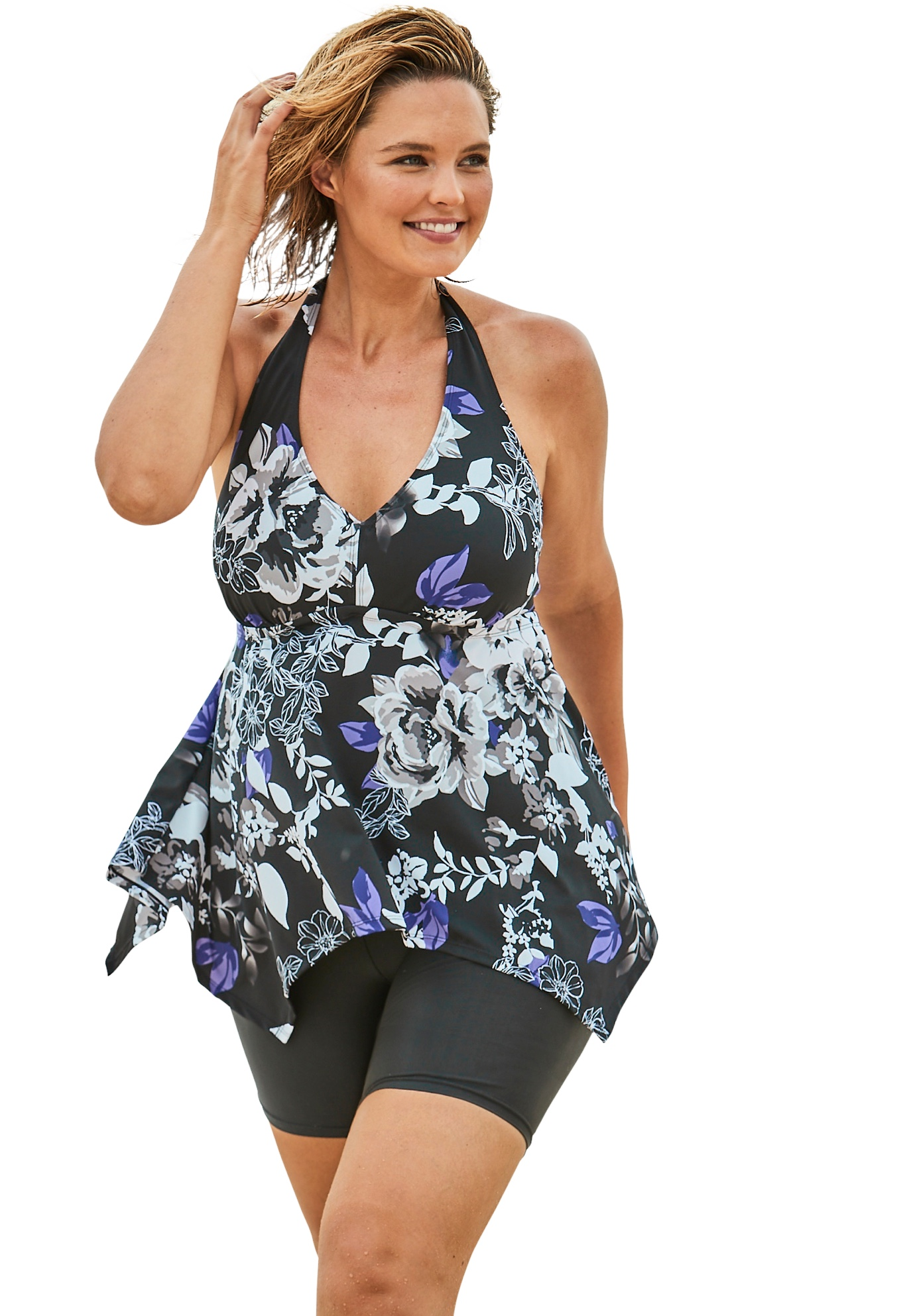 Plus Size Women's Flared Halter Tankini Top by Swim 365 in Blue Painterly Blossom