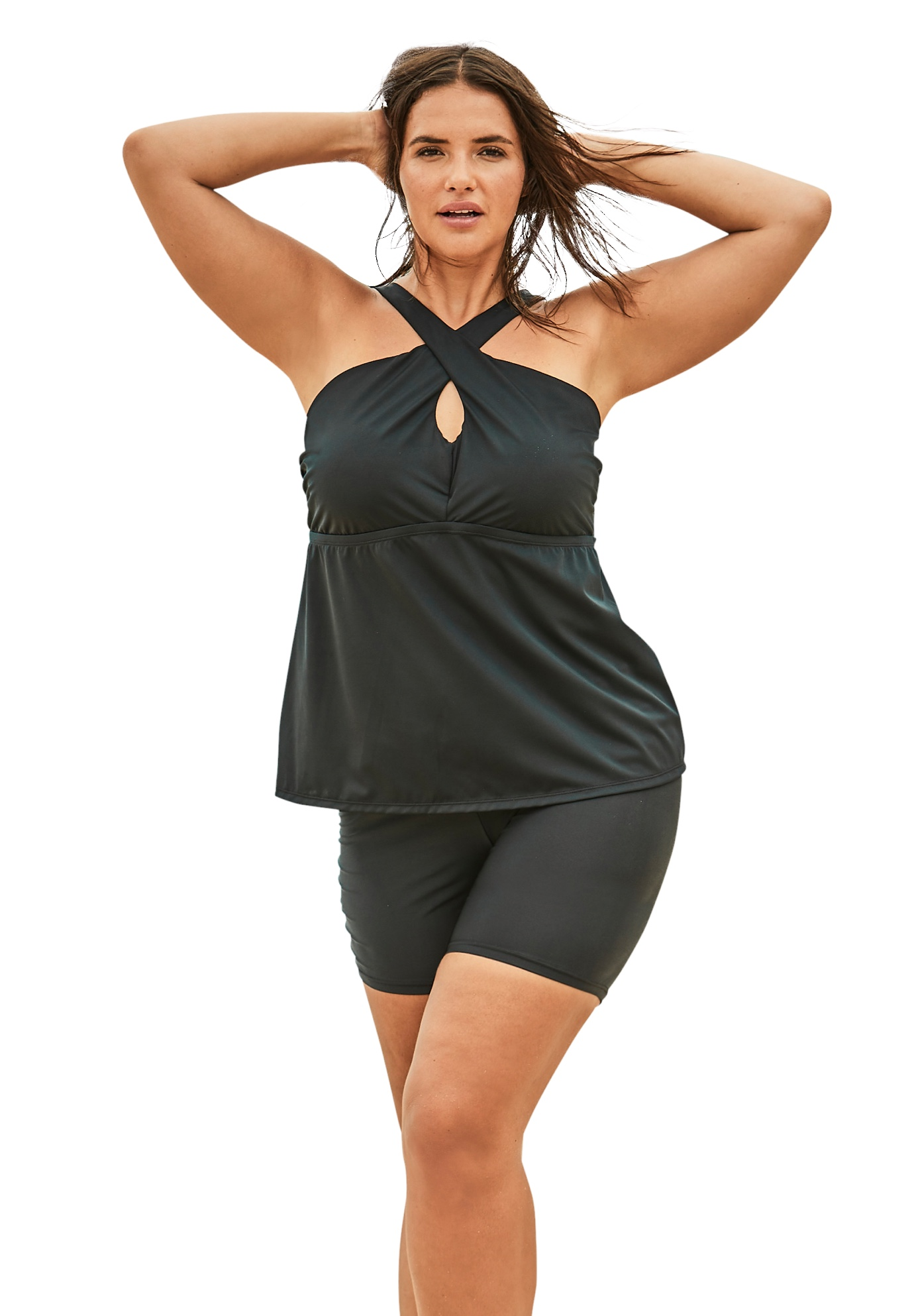 Plus Size Women's Crossover Tankini Top by Swim 365 in Black