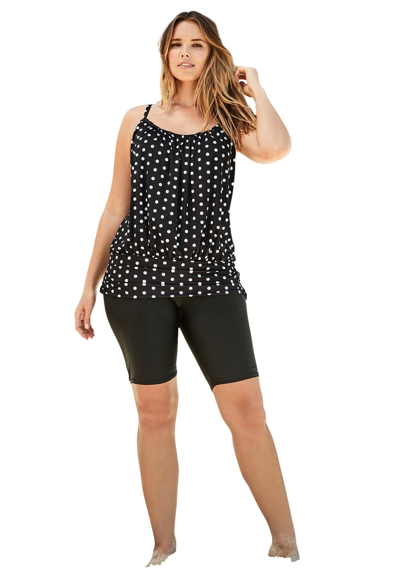 Plus Size Women's Lightweight Blouson Tankini Top by Swim 365 in Black Dots