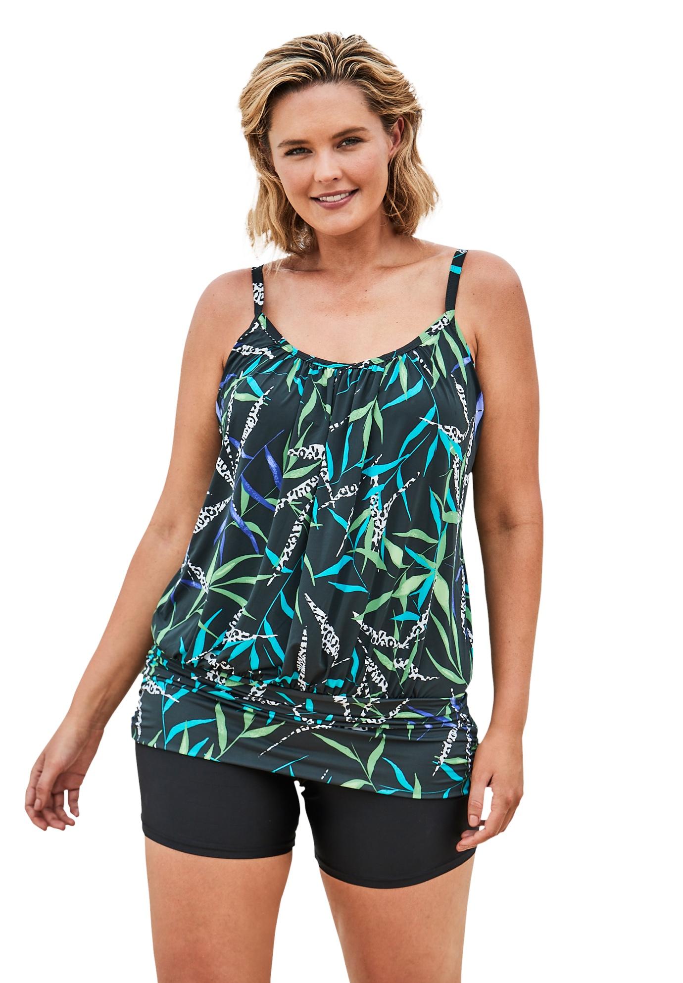 Plus Size Women's Lightweight Blouson Tankini Top by Swim 365 in Turq Multi Leaf Print