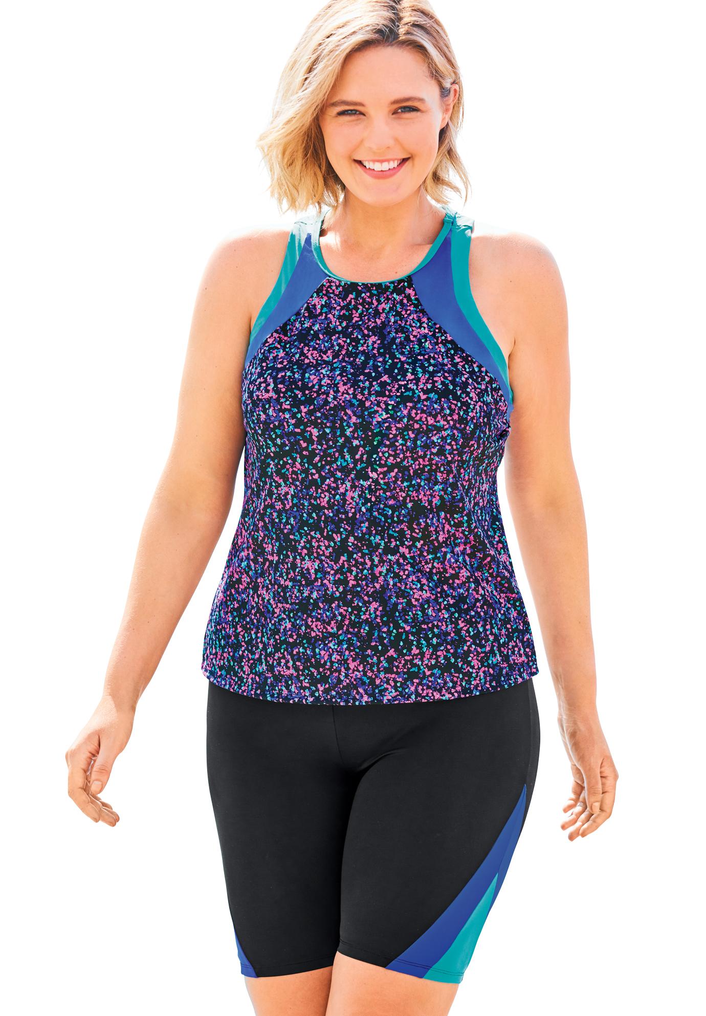 Plus Size Women's Colorblock Tankini Top with Sun Protection by Swim 365 in Black Confetti