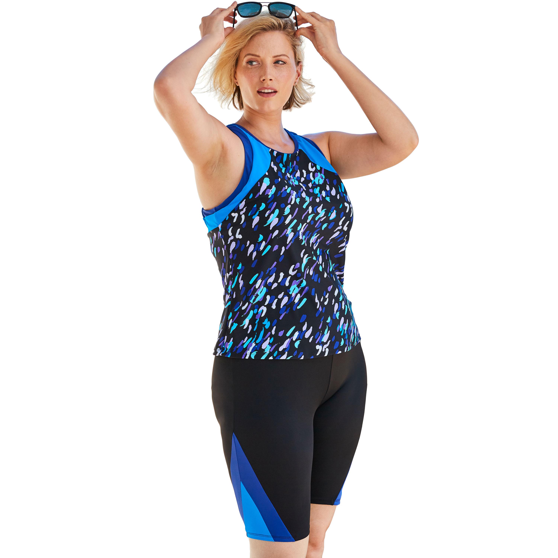 Plus Size Women's Colorblock Tankini Top with Sun Protection by Swim 365 in Twilight Brushstroke