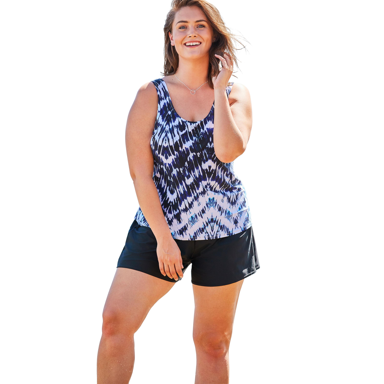 Plus Size Women's Classic Tankini Top by Swim 365 in Tie Dye Zigzag