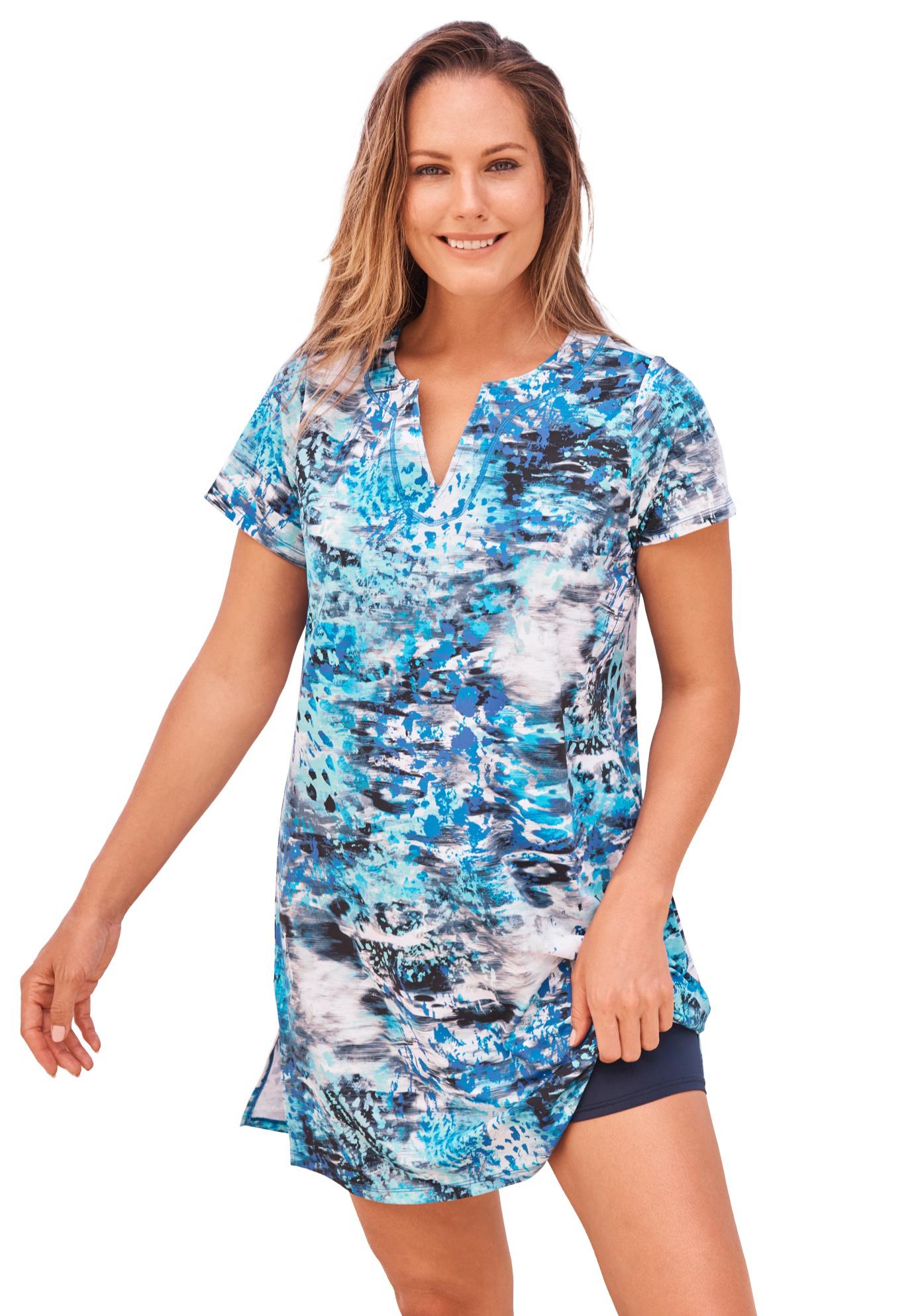 Plus Size Women's Longer Length Short-Sleeve Swim Tunic by Swim 365 in Blue Abstract