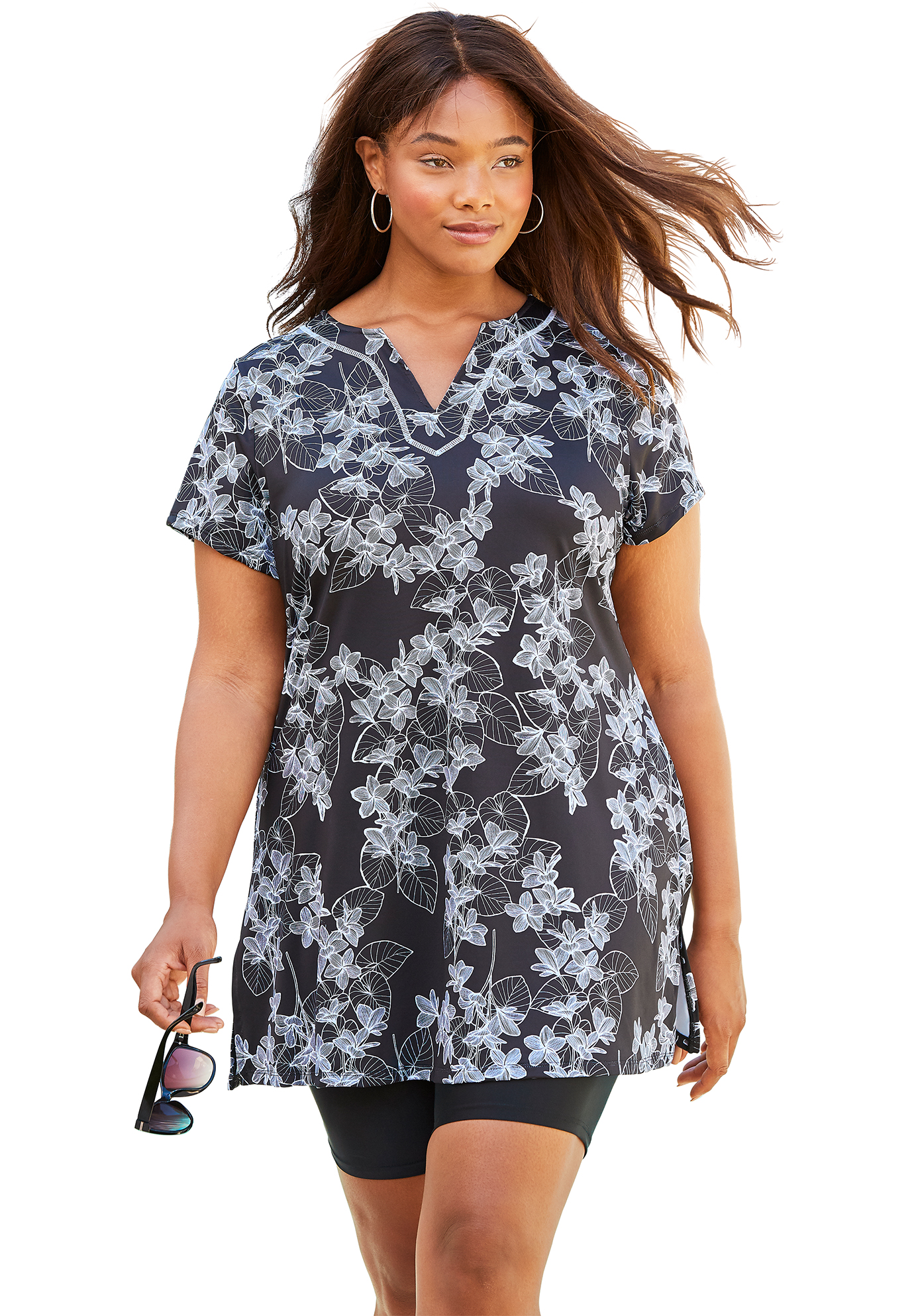 Plus Size Women's Longer Length Short-Sleeve Swim Tunic by Swim 365 in Black White Stencil Floral