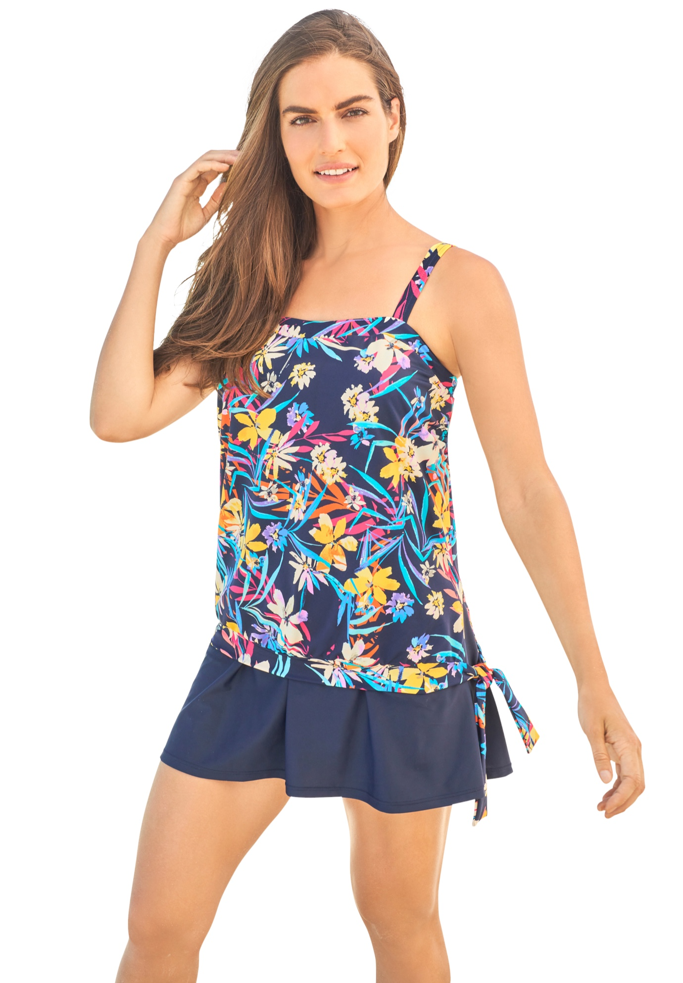 Plus Size Women's Blouson Tankini Top with Adjustable Straps by Swim 365 in Navy Tropical Garden