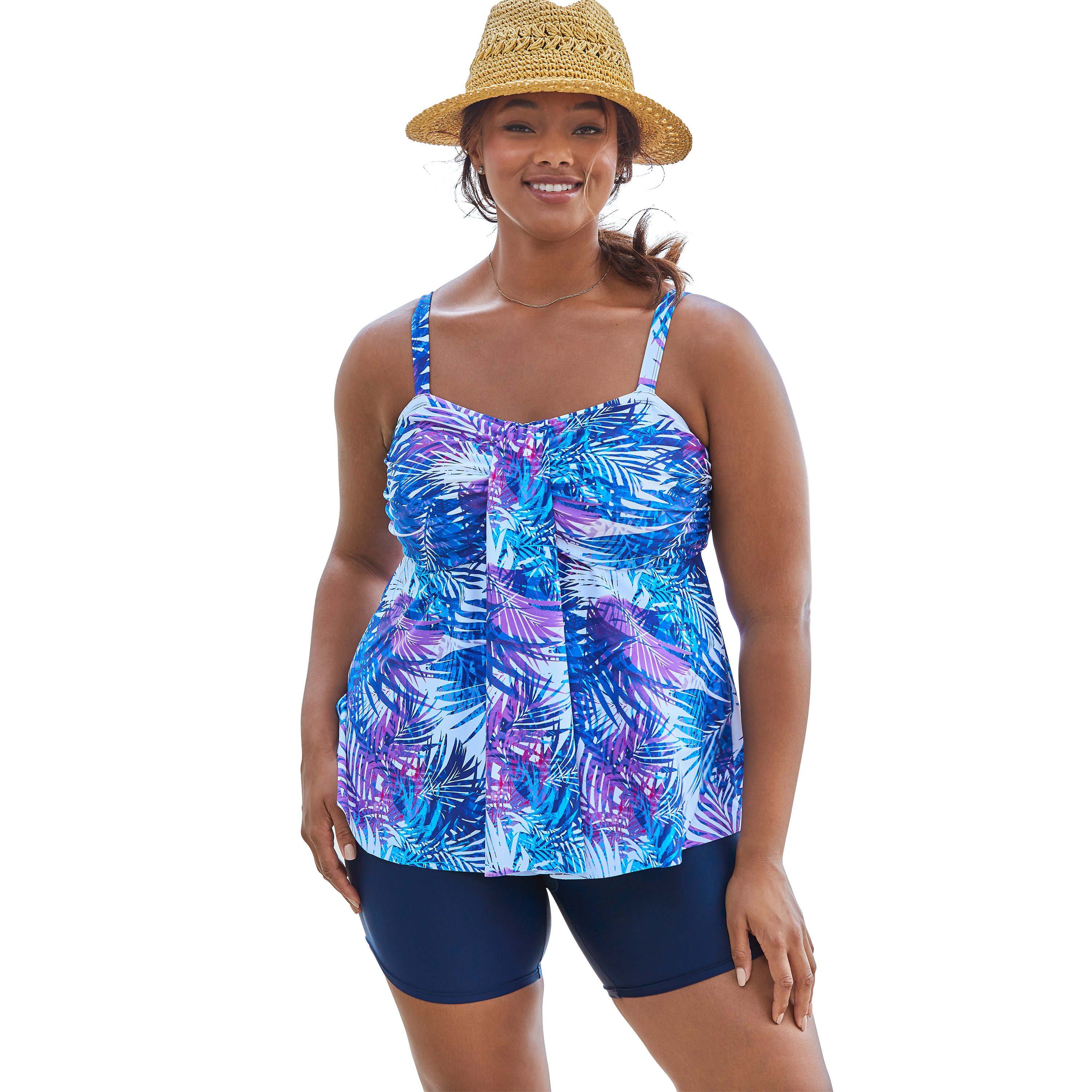 Plus Size Women's Flyaway Tankini Top with Bust Support by Swim 365 in Multi Color Leaves