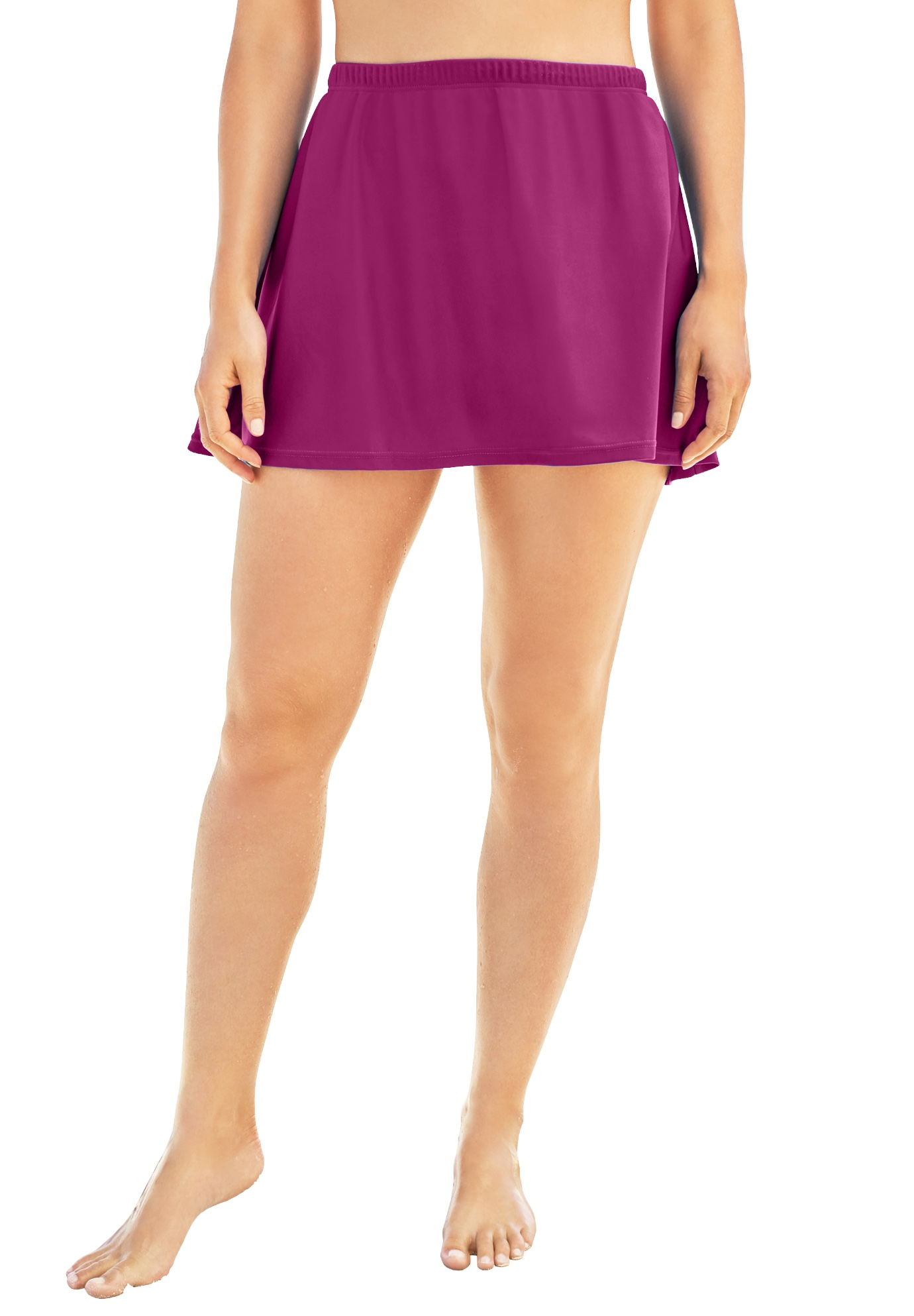 Plus Size Women's A-Line Swim Skirt with Built-In Brief by Swim 365 in Fuchsia