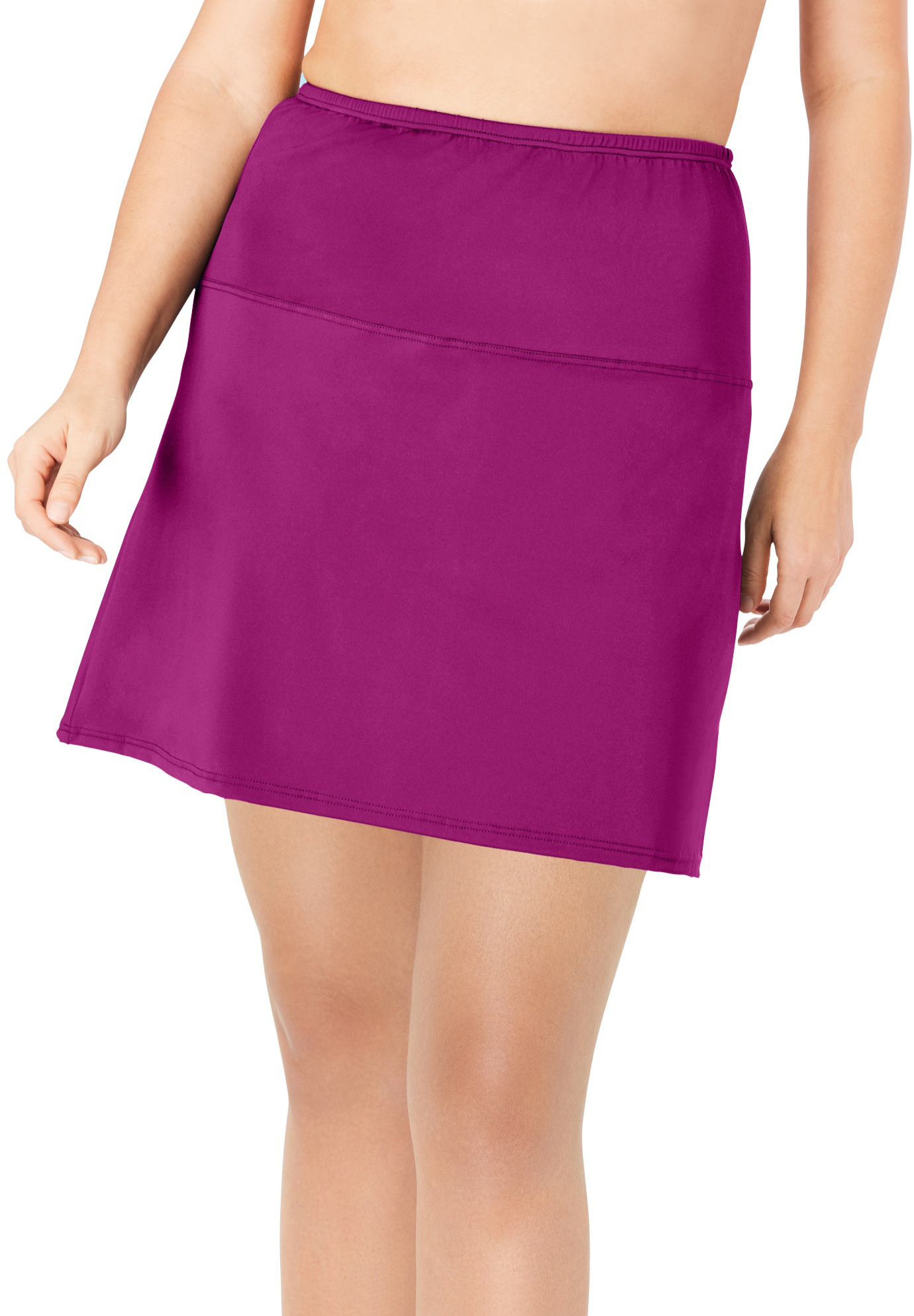 Plus Size Women's High-Waisted Swim Skirt with Built-In Brief by Swim 365 in Fuchsia