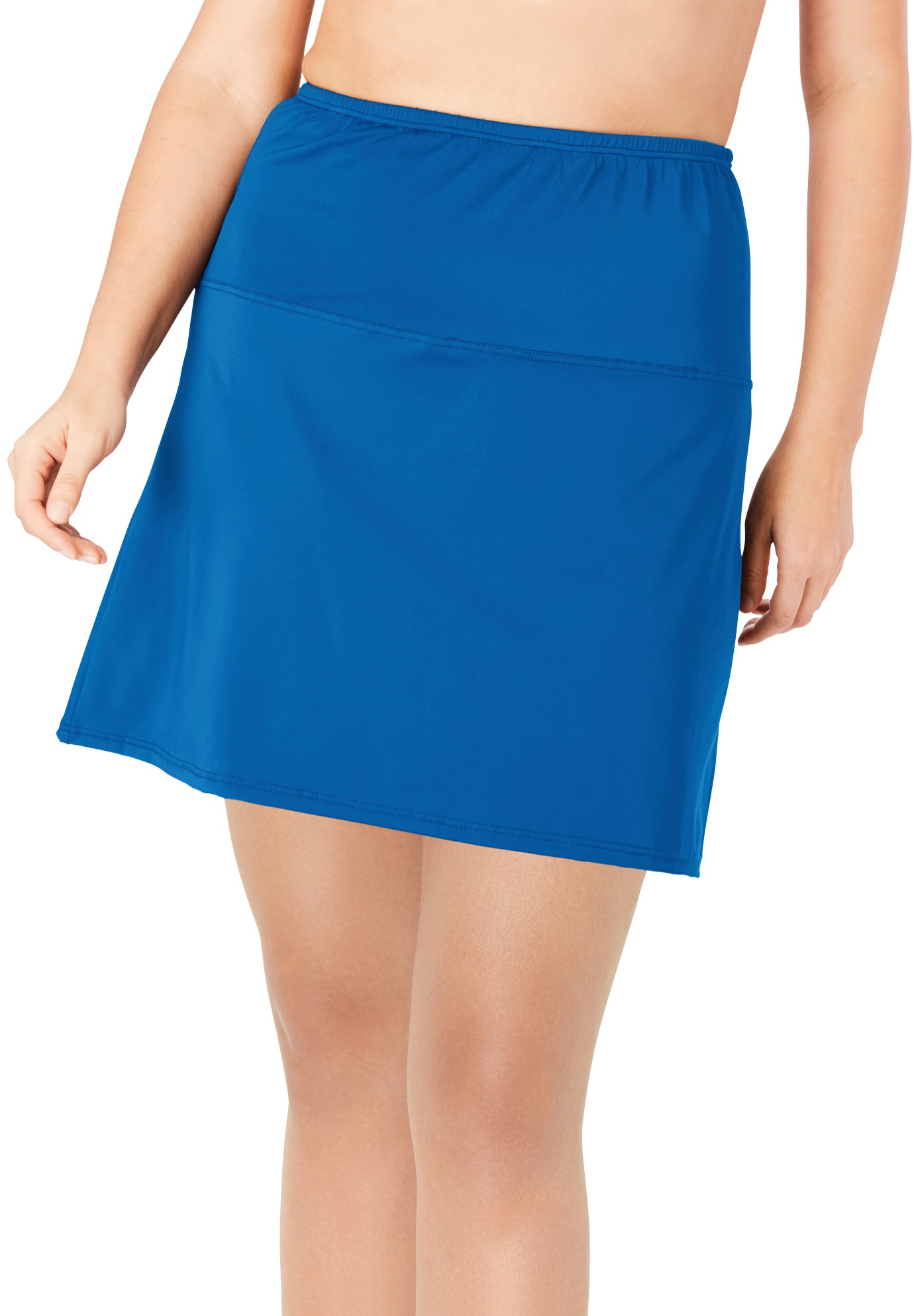 Plus Size Women's High-Waisted Swim Skirt with Built-In Brief by Swim 365 in Dream Blue