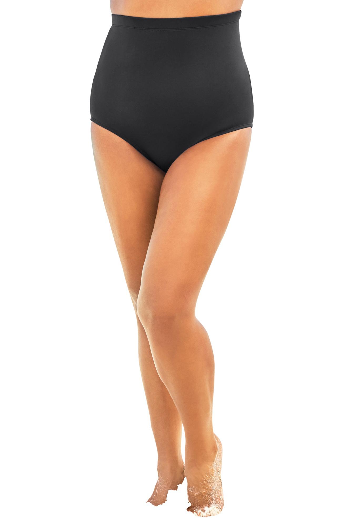 Plus Size Women's High-Waist Swim Brief with Tummy Control by Swim 365 in Black