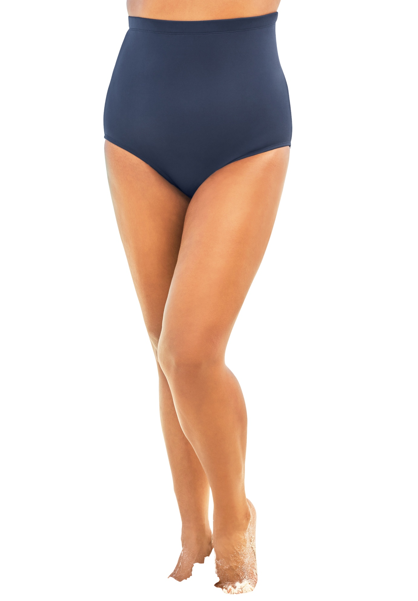 Plus Size Women's High-Waist Swim Brief with Tummy Control by Swim 365 in Navy