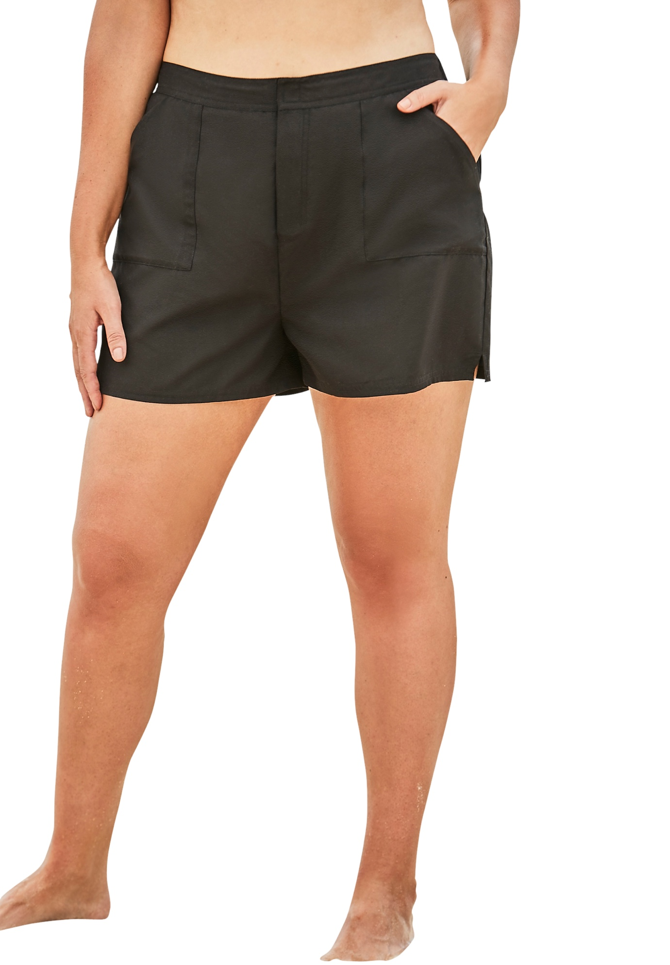Plus Size Women's Cargo Swim Shorts with Side Slits by Swim 365 in Black