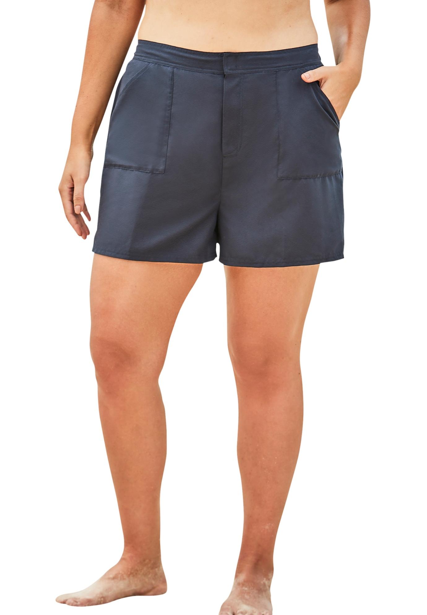 Plus Size Women's Cargo Swim Shorts with Side Slits by Swim 365 in Navy