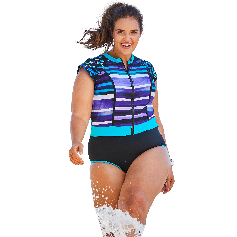 Plus Size Women's Cap Sleeve One-Piece by Swim 365 in Multi Purple Stripe