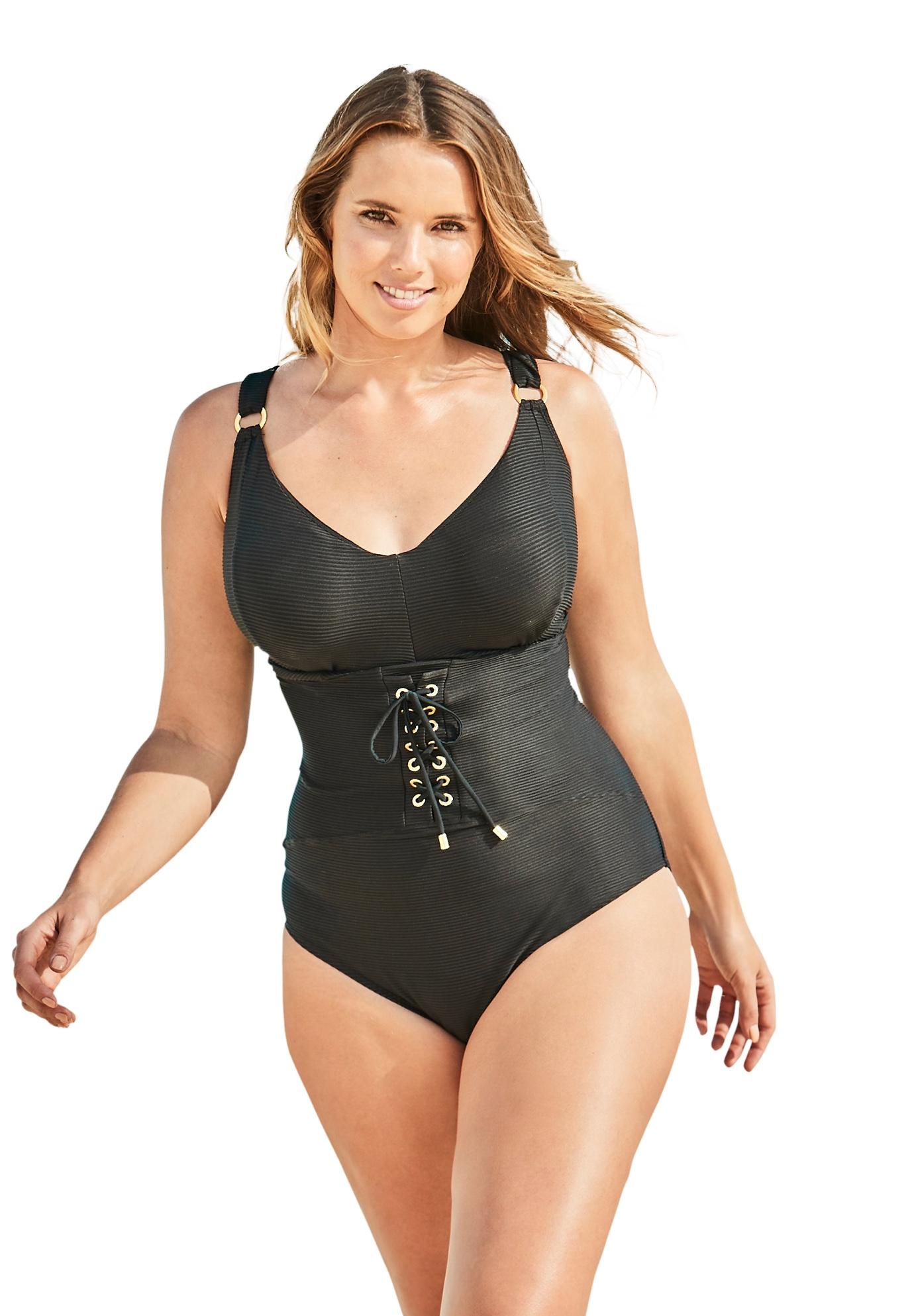 Plus Size Women's Ribbed Underwire One-Piece by Swim 365 in Black