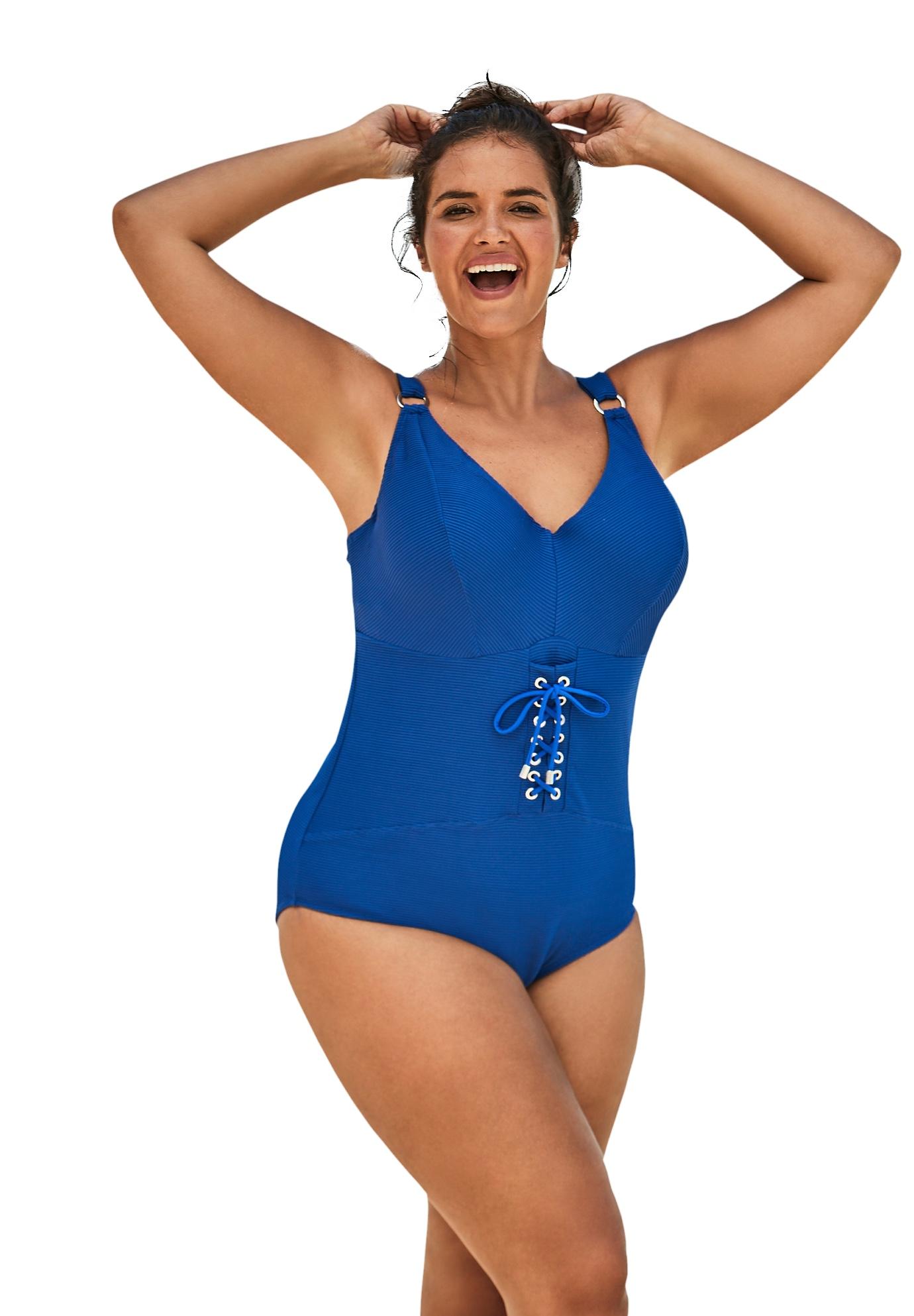 Plus Size Women's Ribbed Underwire One-Piece by Swim 365 in Dream Blue