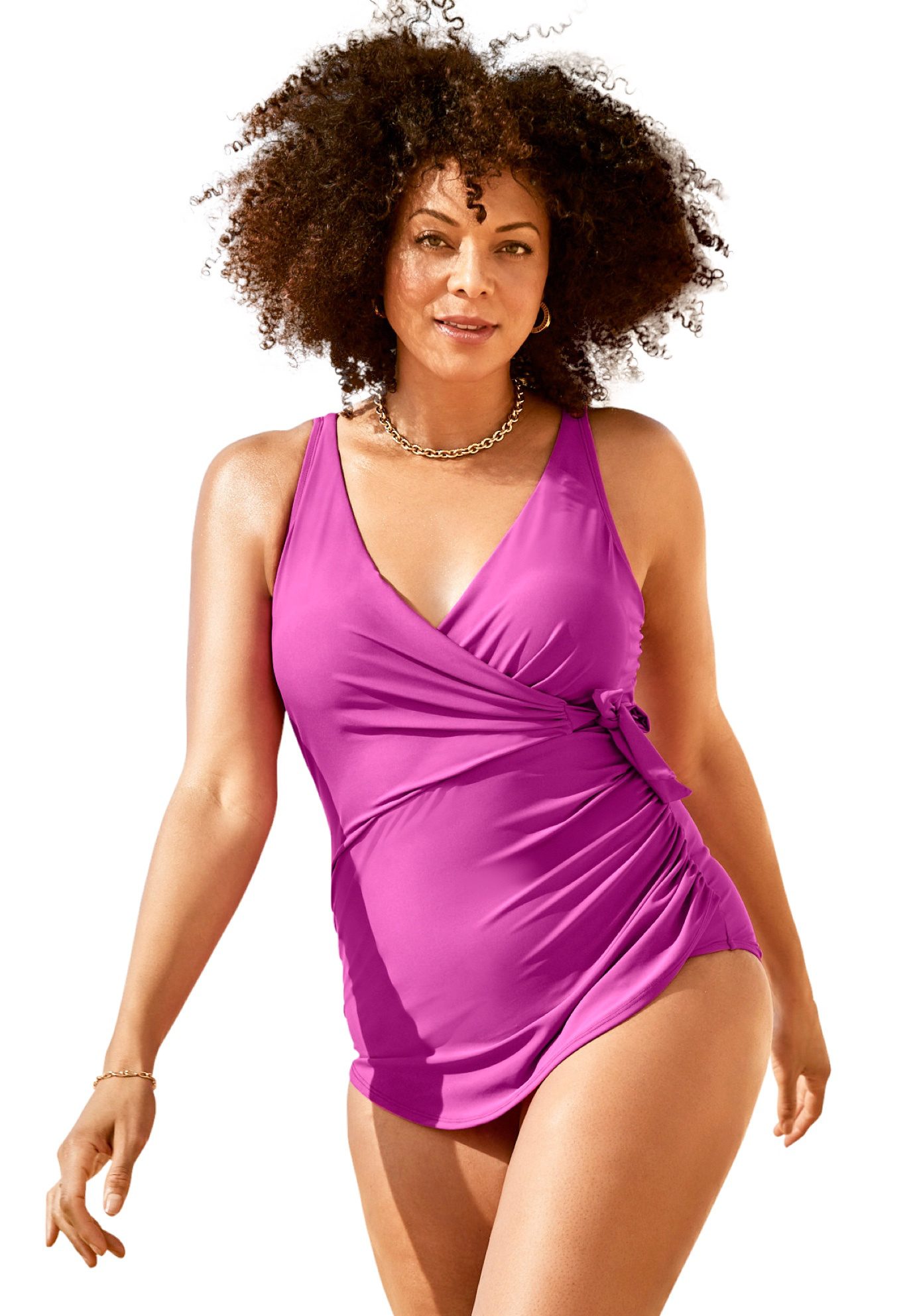 Plus Size Women's Faux-Wrap Sarong One Piece by Swim 365 in Beach Rose (Size 22)