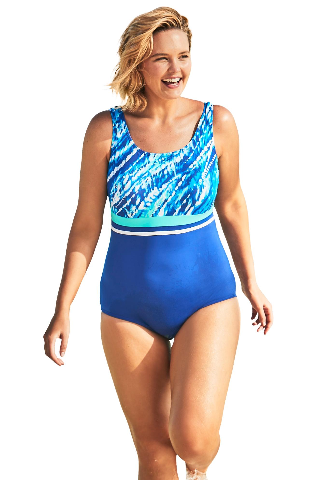 Plus Size Women's Empire-Waist Swimsuit with Molded Bra by Swim 365 in Dream Blue Tie Dye