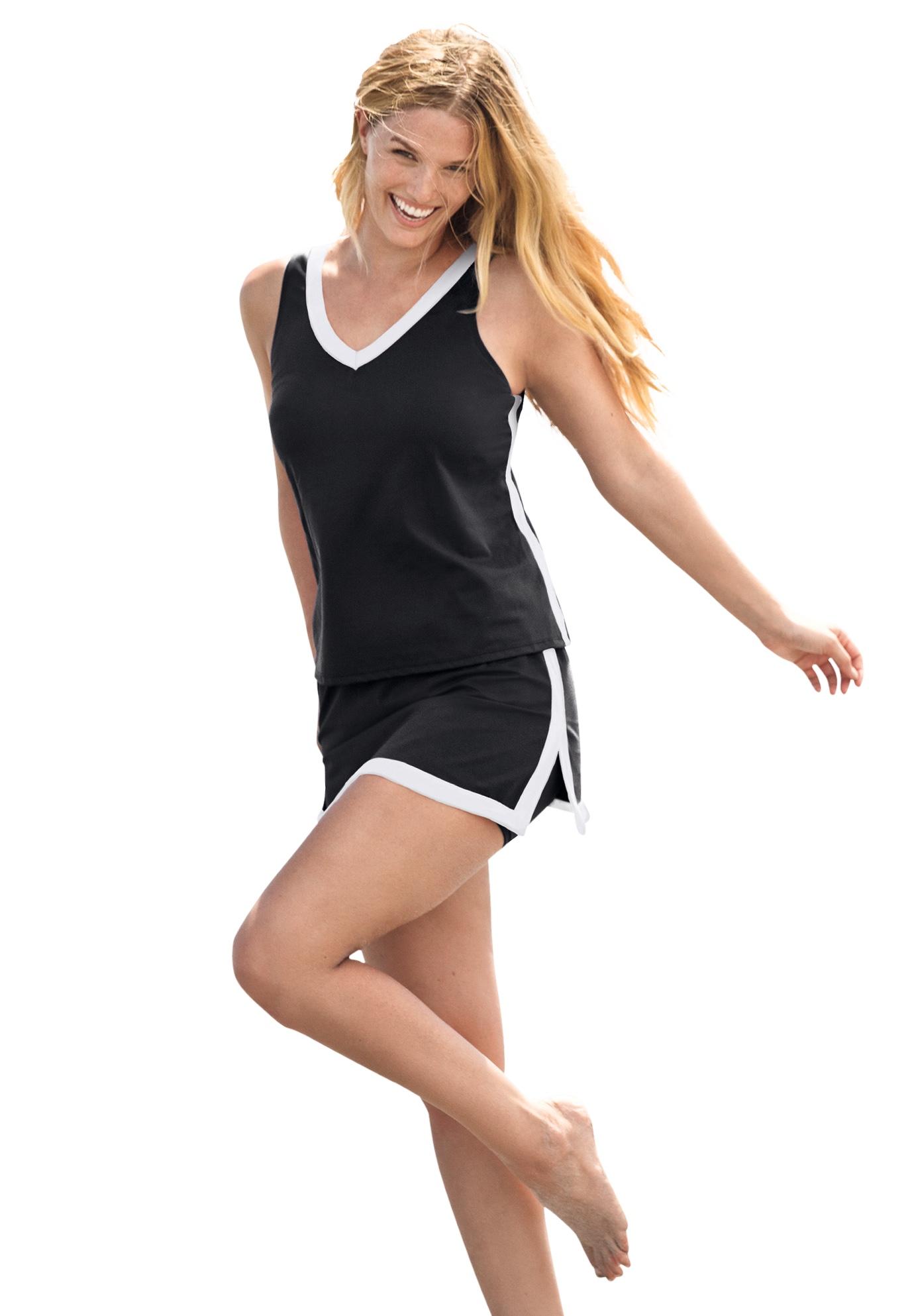 Plus Size Women's 2-Piece Swim Skirtini Set by Swim 365 in Black White