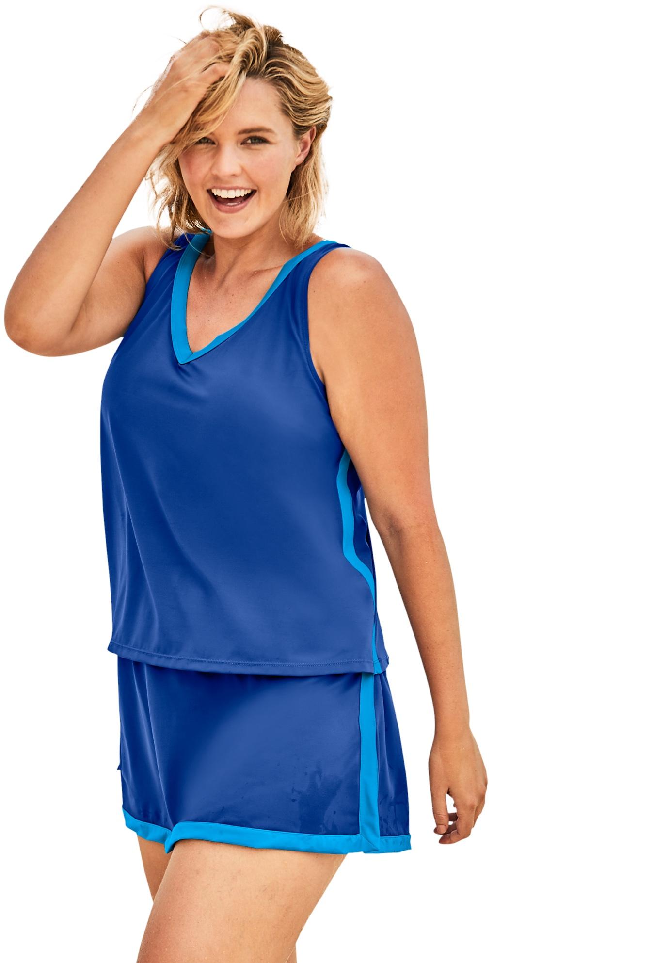 Plus Size Women's 2-Piece Swim Skirtini Set by Swim 365 in Dream Blue Sea