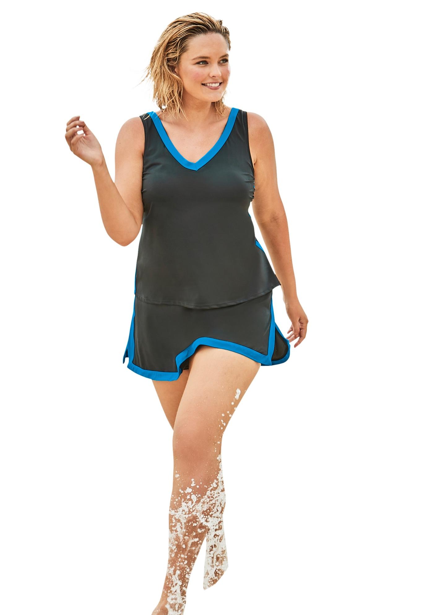 Plus Size Women's 2-Piece Swim Skirtini Set by Swim 365 in Black Blue Sea
