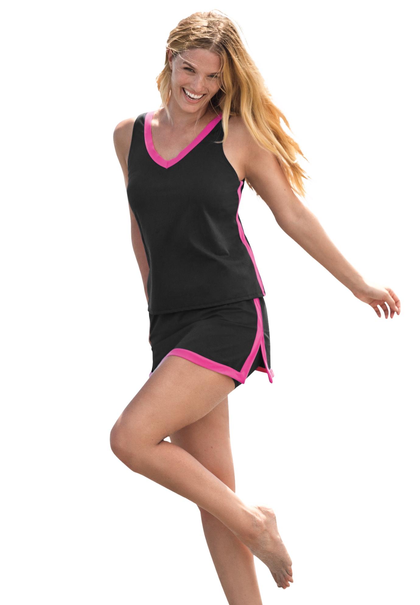Plus Size Women's 2-Piece Swim Skirtini Set by Swim 365 in Black Fuchsia