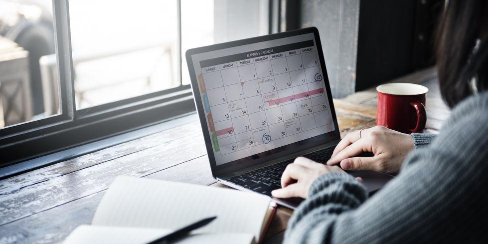 A woman organizing her calendar
