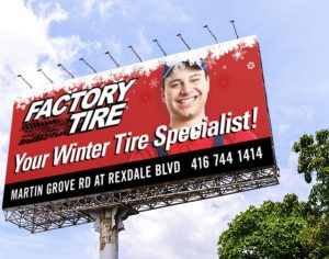 Retailer Transit & Billboard Advertising: Factory Tire Winter Promotion