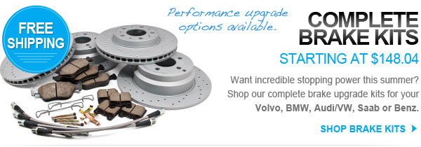 Complete brake kits starting at $148.04 with free shipping